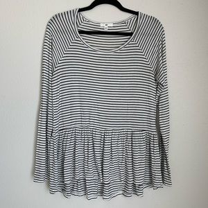 BP striped drop waist peplum long sleeve